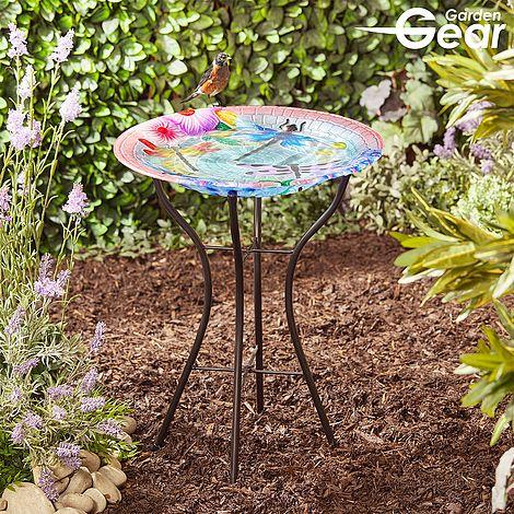 Garden Gear Glass Birdbath With Stand